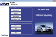 SECONS FoCOM Main screen